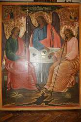 Икона храмовая «Троица ветхозаветная». Российская Империя,  кон. XVIII