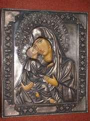 Икона Пресв. Богородицы «Владимирская» в cтаринном окладе.