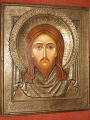 Икона «Спас Нерукотворный»,  в старинном окладе.