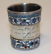 Старинная наградная серебряная стопка с перегородчатыми эмалями. XIX в