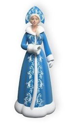 Новогодние скульптуры Деда Мороза и Снегурочки из стеклопластика.